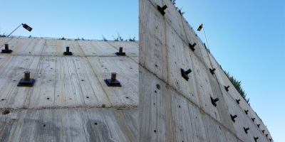 Anchored retaining walls