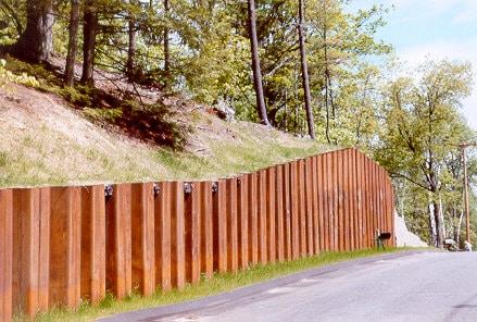 Sheet piling retaining walls